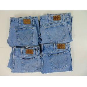 Lot of 4 Wrangler Men 38 x 30 Blue Jeans Straight